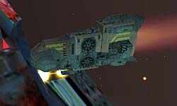 """A tug says """"hello"""" to a Beast-infected Taiidan Carrier."""